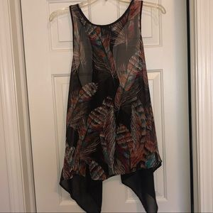 Tops - Sheer feature print tank